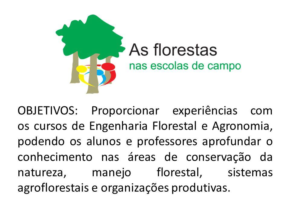 OBJETIVOS: Proporcionar experiências com os cursos de Engenharia Florestal e Agronomia, podendo os alunos e professores aprofundar o conhecimento nas
