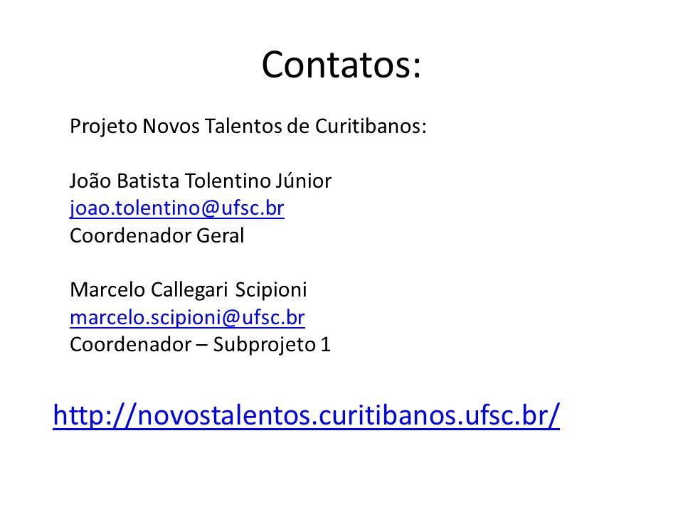 Contatos: http://novostalentos.curitibanos.ufsc.br/ Projeto Novos Talentos de Curitibanos: João Batista Tolentino Júnior joao.tolentino@ufsc.br Coorde