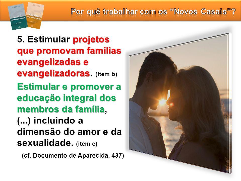 projetos que promovam famílias evangelizadas e evangelizadoras 5. Estimular projetos que promovam famílias evangelizadas e evangelizadoras. (item b) E