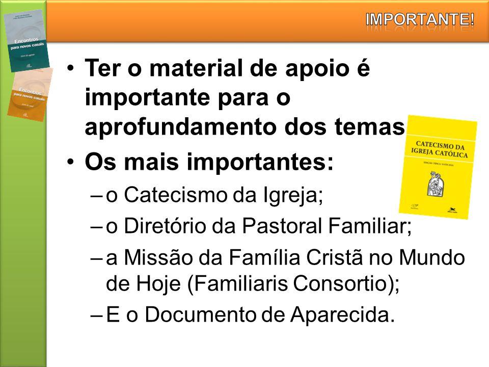 Ter o material de apoio é importante para o aprofundamento dos temas. Os mais importantes: –o Catecismo da Igreja; –o Diretório da Pastoral Familiar;