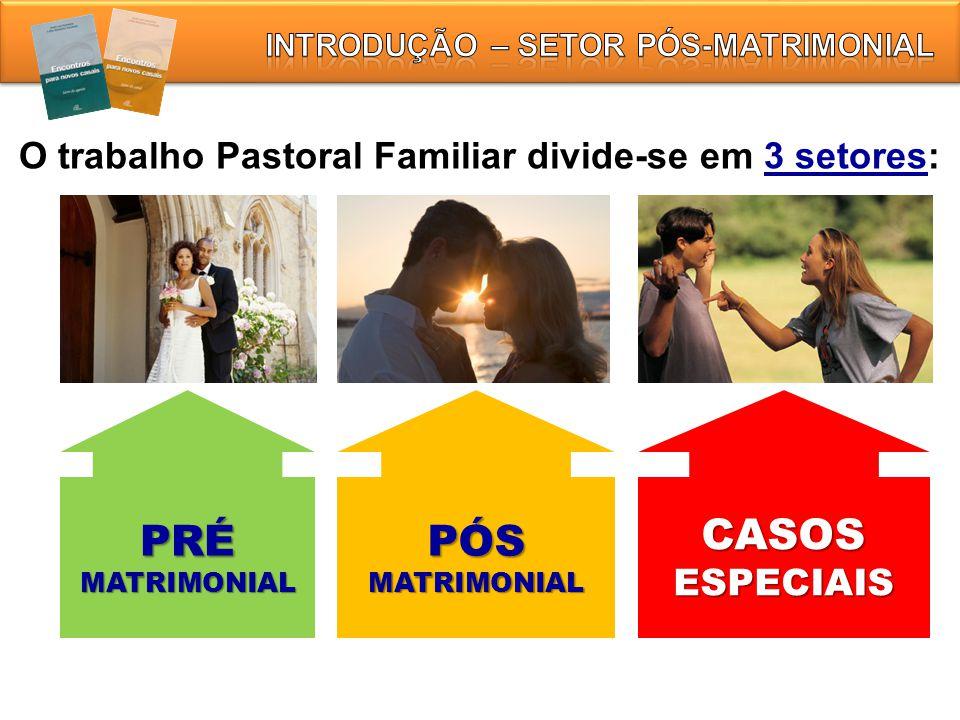 O trabalho Pastoral Familiar divide-se em 3 setores: PRÉMATRIMONIALPÓSMATRIMONIALCASOSESPECIAIS