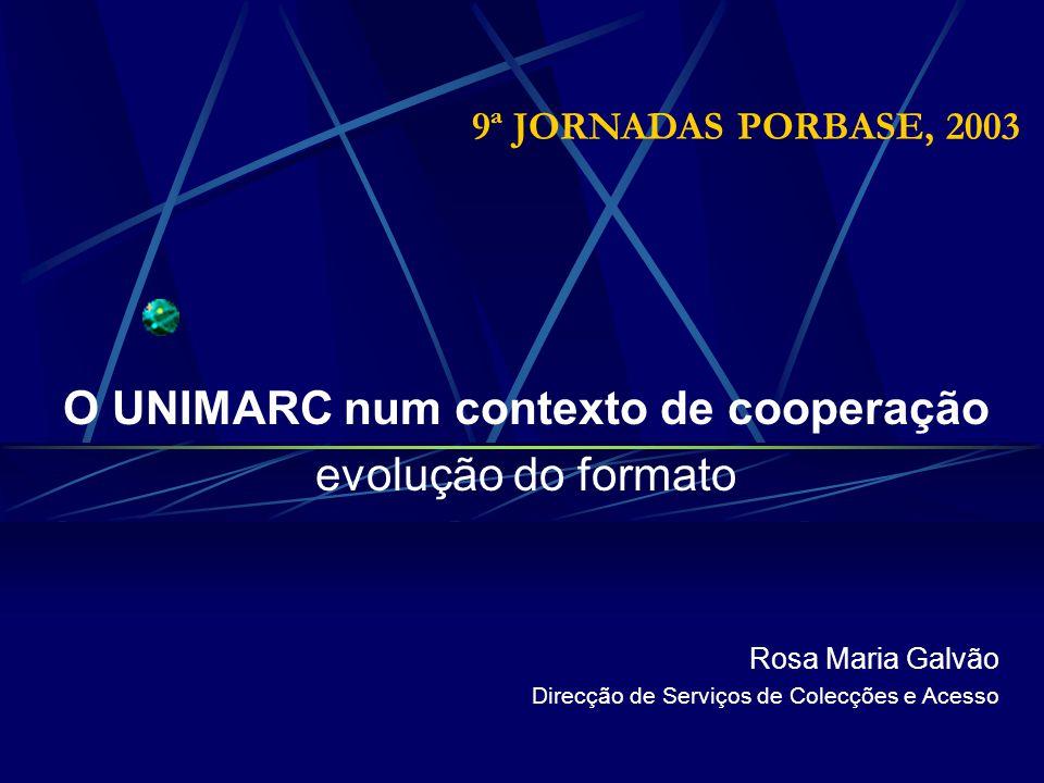 9ª JORNADAS PORBASE, 2003 O UNIMARC num contexto de cooperação evolução do formato Rosa Maria Galvão Direcção de Serviços de Colecções e Acesso