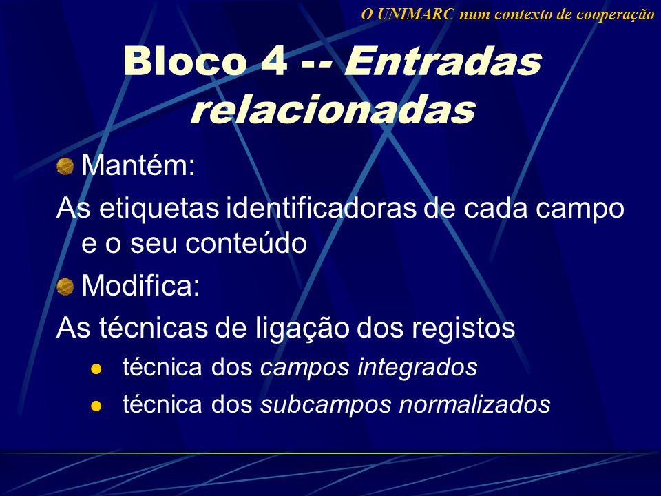Bloco 4 -- Entradas relacionadas Mantém: As etiquetas identificadoras de cada campo e o seu conteúdo Modifica: As técnicas de ligação dos registos técnica dos campos integrados técnica dos subcampos normalizados O UNIMARC num contexto de cooperação