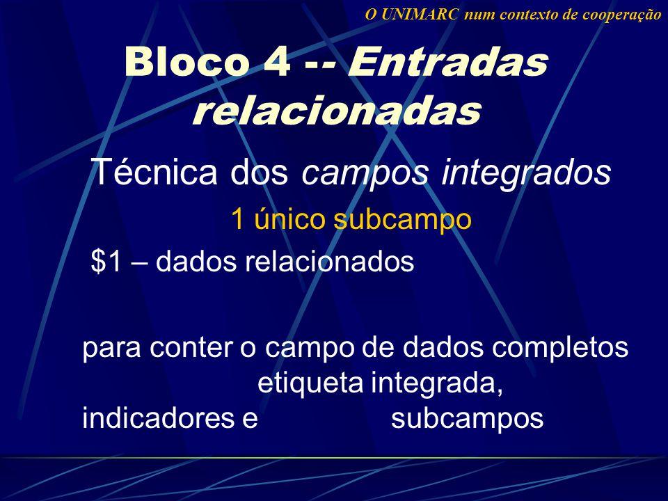 Técnica dos campos integrados 1 único subcampo $1 – dados relacionados para conter o campo de dados completos etiqueta integrada, indicadores e subcampos Bloco 4 -- Entradas relacionadas O UNIMARC num contexto de cooperação