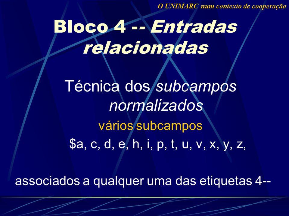 Técnica dos subcampos normalizados vários subcampos $a, c, d, e, h, i, p, t, u, v, x, y, z, associados a qualquer uma das etiquetas 4-- Bloco 4 -- Entradas relacionadas O UNIMARC num contexto de cooperação