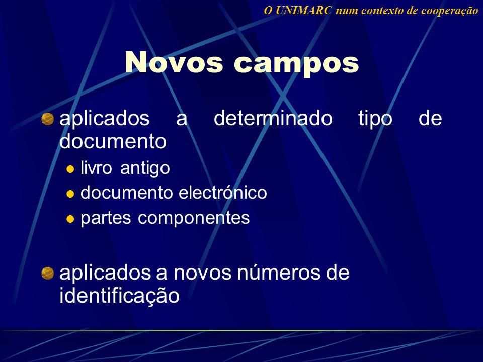 Novos campos aplicados a determinado tipo de documento livro antigo documento electrónico partes componentes aplicados a novos números de identificação O UNIMARC num contexto de cooperação
