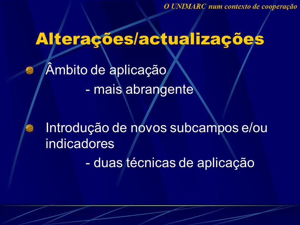 Alterações/actualizações Âmbito de aplicação - mais abrangente Introdução de novos subcampos e/ou indicadores - duas técnicas de aplicação O UNIMARC num contexto de cooperação