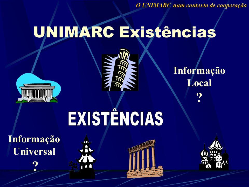 UNIMARC Existências O UNIMARC num contexto de cooperação Informação Local ? Informação Universal ?