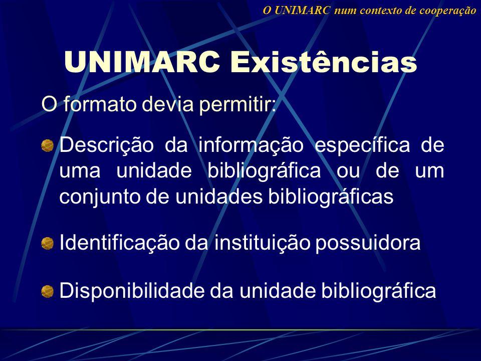 O formato devia permitir: Descrição da informação específica de uma unidade bibliográfica ou de um conjunto de unidades bibliográficas Identificação da instituição possuidora Disponibilidade da unidade bibliográfica UNIMARC Existências O UNIMARC num contexto de cooperação