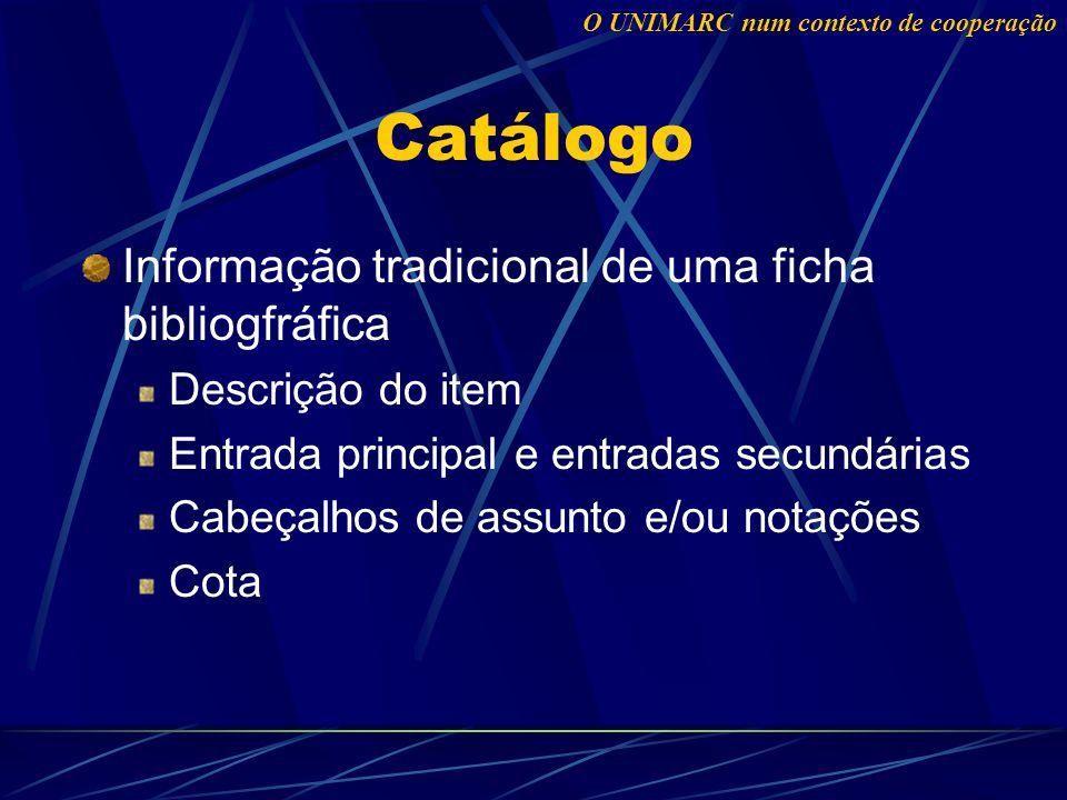 Catálogo Informação tradicional de uma ficha bibliogfráfica Descrição do item Entrada principal e entradas secundárias Cabeçalhos de assunto e/ou notações Cota O UNIMARC num contexto de cooperação