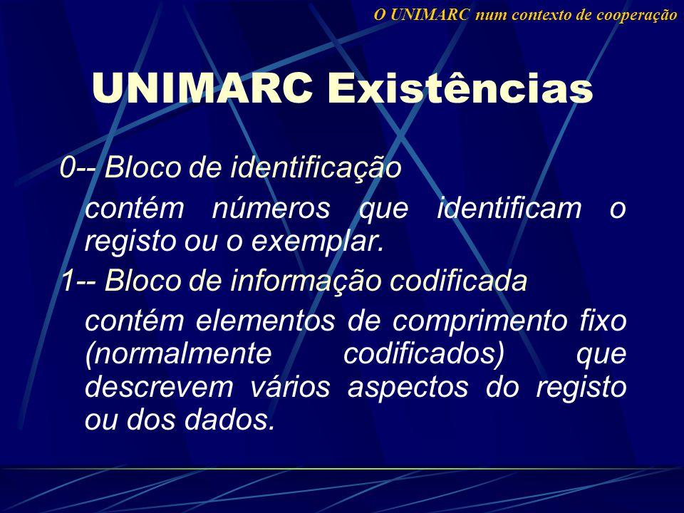 0-- Bloco de identificação contém números que identificam o registo ou o exemplar.
