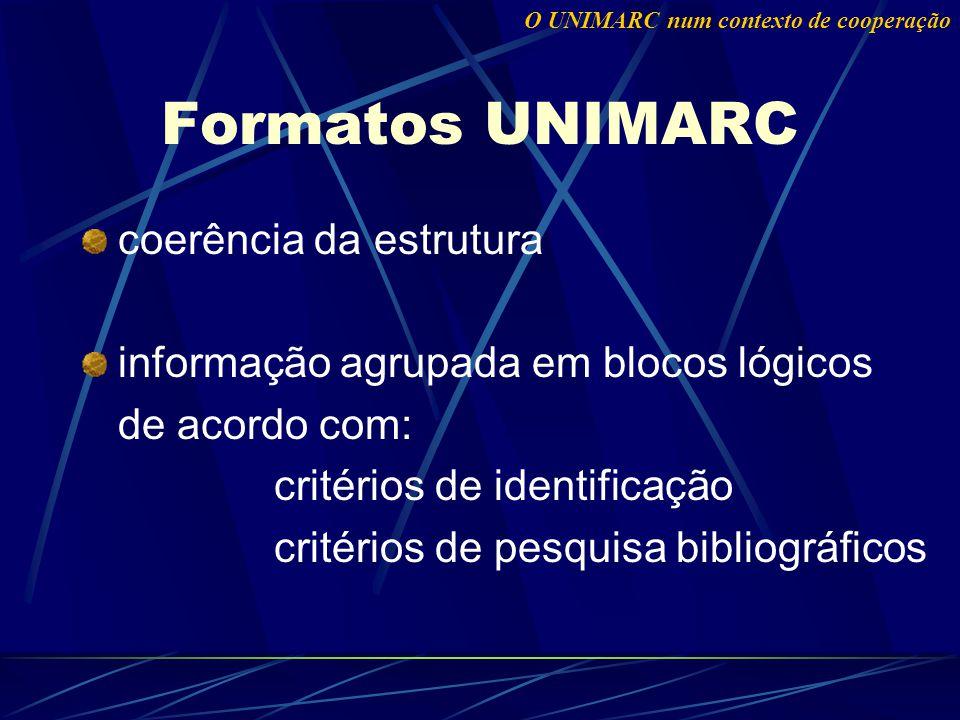 coerência da estrutura informação agrupada em blocos lógicos de acordo com: critérios de identificação critérios de pesquisa bibliográficos Formatos UNIMARC O UNIMARC num contexto de cooperação