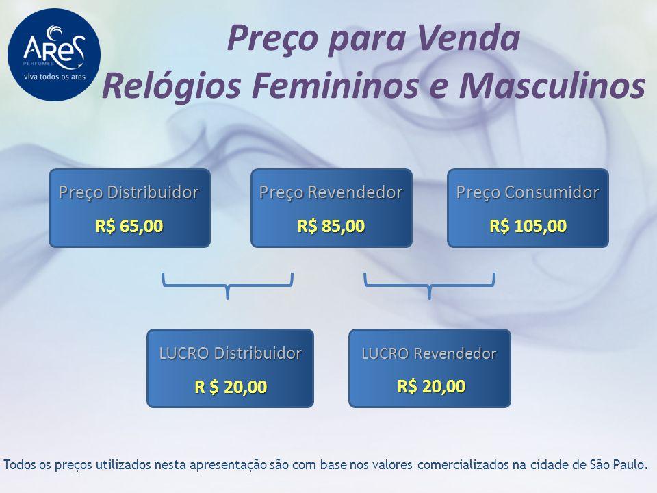 Preço para Venda Relógios Femininos e Masculinos Todos os preços utilizados nesta apresentação são com base nos valores comercializados na cidade de S