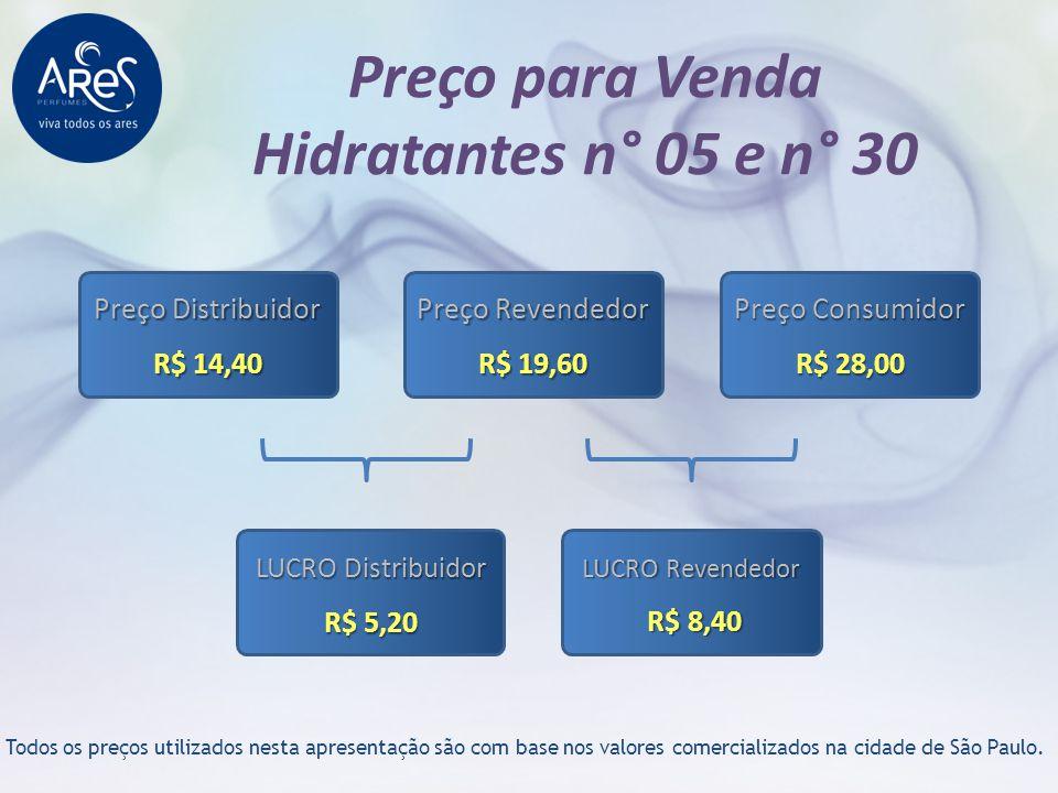 Preço para Venda Hidratantes n° 05 e n° 30 Todos os preços utilizados nesta apresentação são com base nos valores comercializados na cidade de São Pau