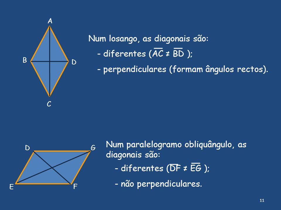 D E F G Num paralelogramo obliquângulo, as diagonais são: - diferentes (DF ≠ EG ); - não perpendiculares. Num losango, as diagonais são: - diferentes
