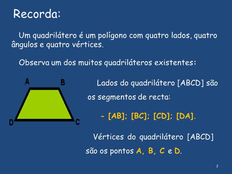 Um quadrilátero é um polígono com quatro lados, quatro ângulos e quatro vértices. Recorda: Observa um dos muitos quadriláteros existentes: Lados do qu