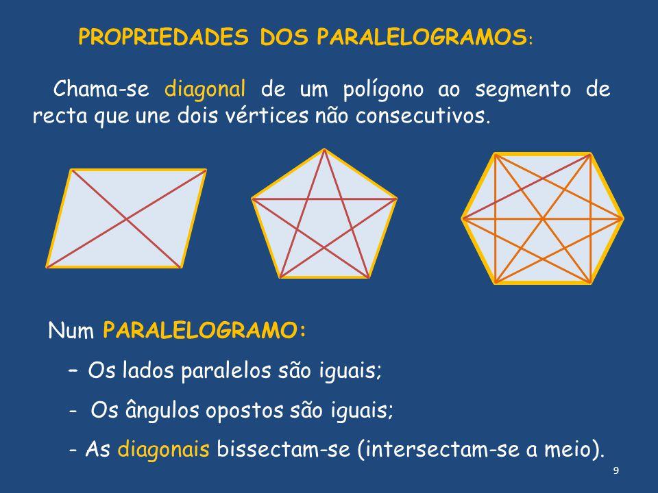 PROPRIEDADES DOS PARALELOGRAMOS : Num PARALELOGRAMO: – Os lados paralelos são iguais; - Os ângulos opostos são iguais; - As diagonais bissectam-se (in