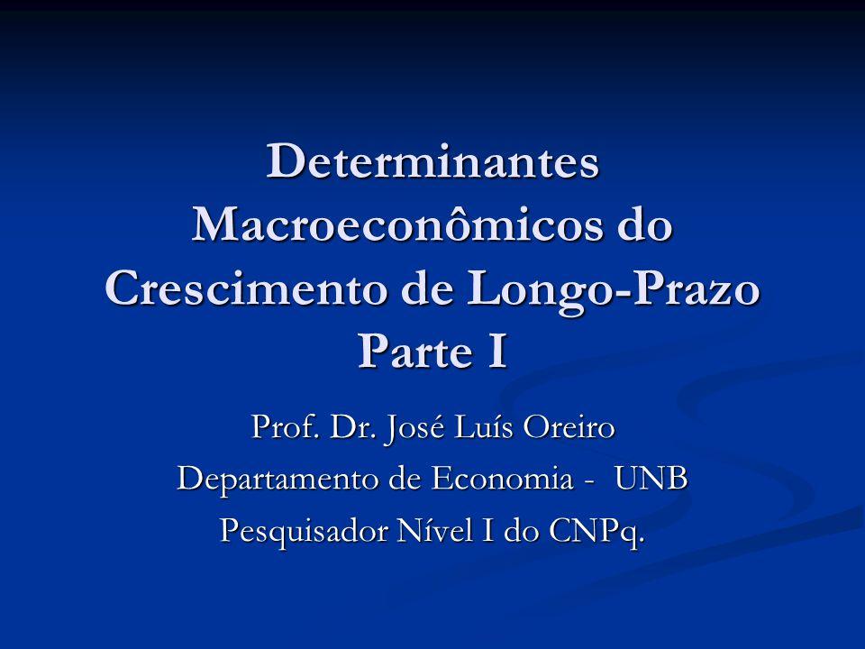 Determinantes Macroeconômicos do Crescimento de Longo-Prazo Parte I Prof. Dr. José Luís Oreiro Departamento de Economia - UNB Pesquisador Nível I do C