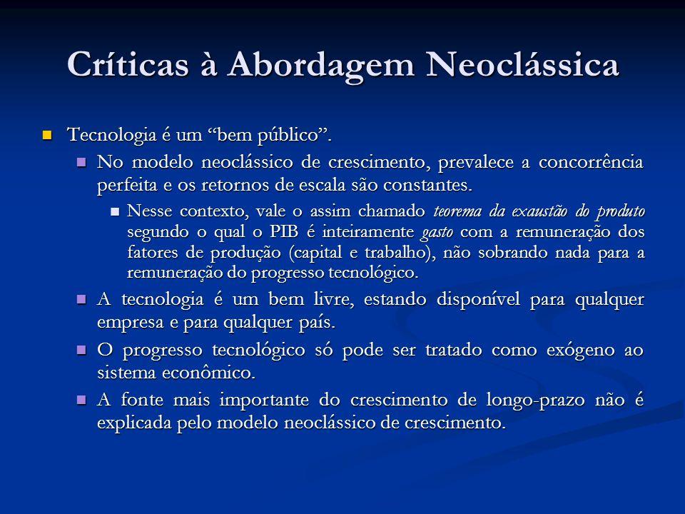 """Críticas à Abordagem Neoclássica Tecnologia é um """"bem público"""". Tecnologia é um """"bem público"""". No modelo neoclássico de crescimento, prevalece a conco"""