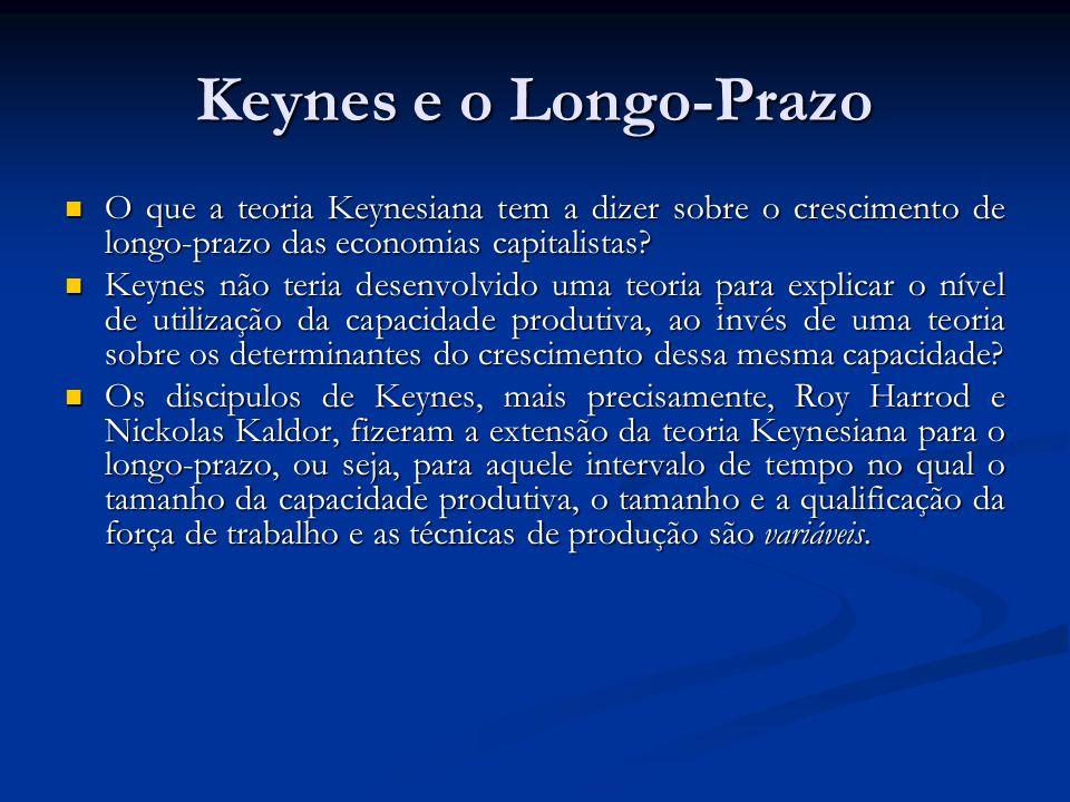 Keynes e o Longo-Prazo O que a teoria Keynesiana tem a dizer sobre o crescimento de longo-prazo das economias capitalistas? O que a teoria Keynesiana