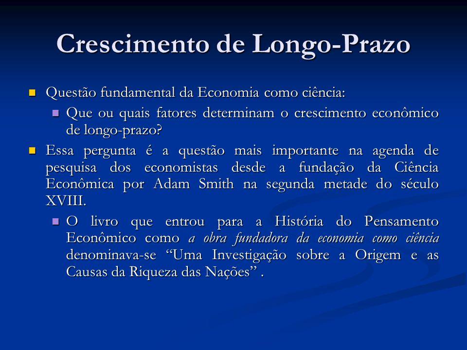 Crescimento de Longo-Prazo Questão fundamental da Economia como ciência: Questão fundamental da Economia como ciência: Que ou quais fatores determinam