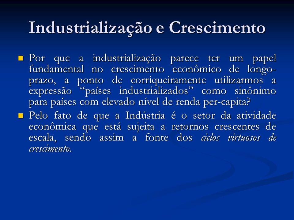 Industrialização e Crescimento Por que a industrialização parece ter um papel fundamental no crescimento econômico de longo- prazo, a ponto de corriqu