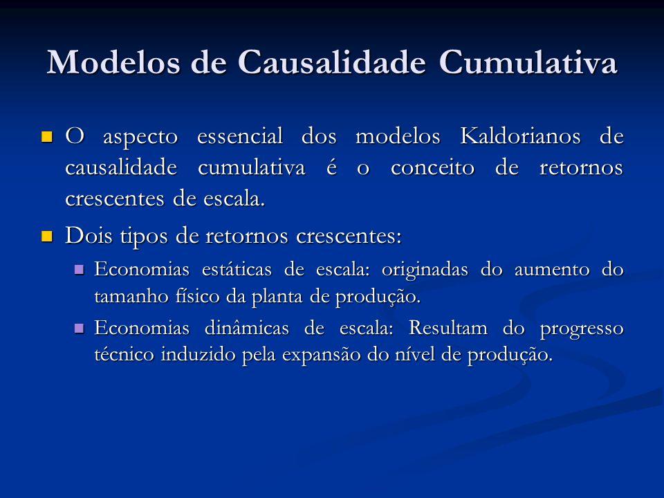 Modelos de Causalidade Cumulativa O aspecto essencial dos modelos Kaldorianos de causalidade cumulativa é o conceito de retornos crescentes de escala.