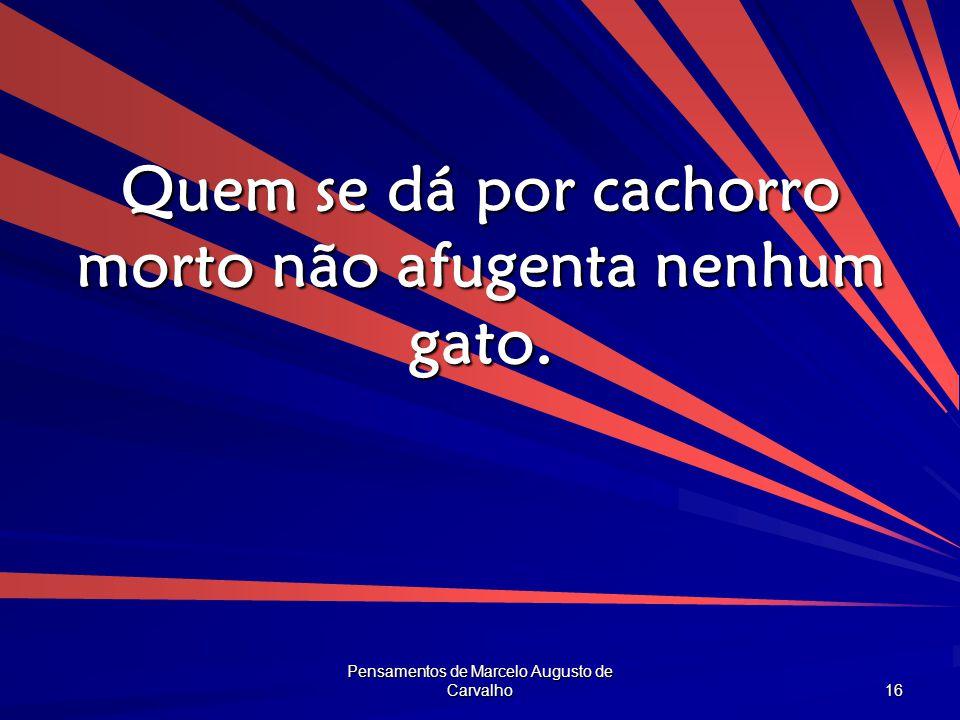 Pensamentos de Marcelo Augusto de Carvalho 16 Quem se dá por cachorro morto não afugenta nenhum gato.