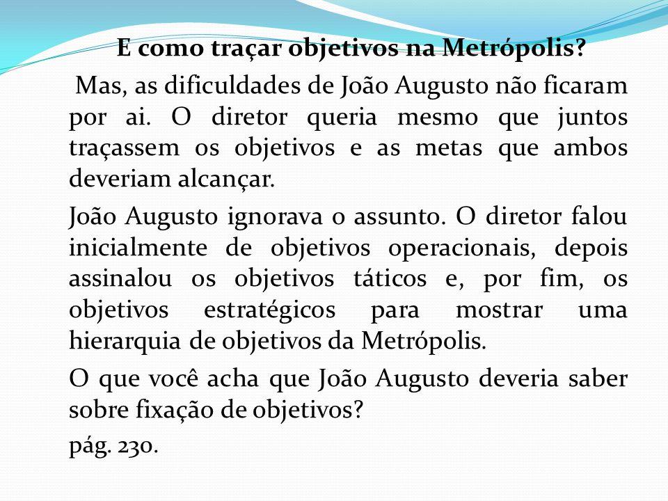 E como traçar objetivos na Metrópolis.Mas, as dificuldades de João Augusto não ficaram por ai.