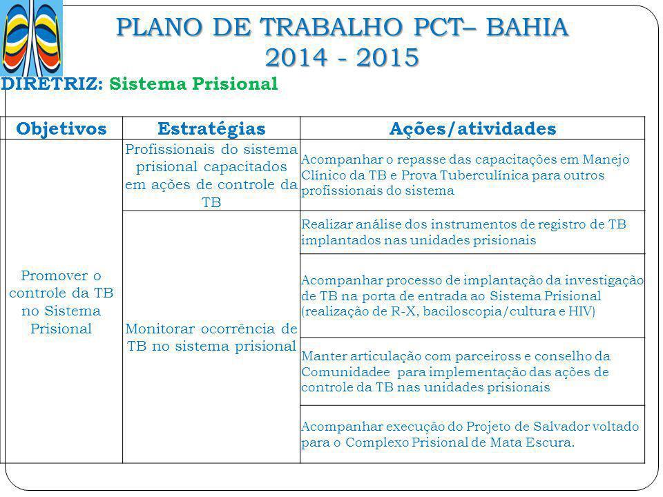 PLANO DE TRABALHO PCT– BAHIA 2014 - 2015 DIRETRIZ: Sistema Prisional ObjetivosEstratégiasAções/atividades Promover o controle da TB no Sistema Prision