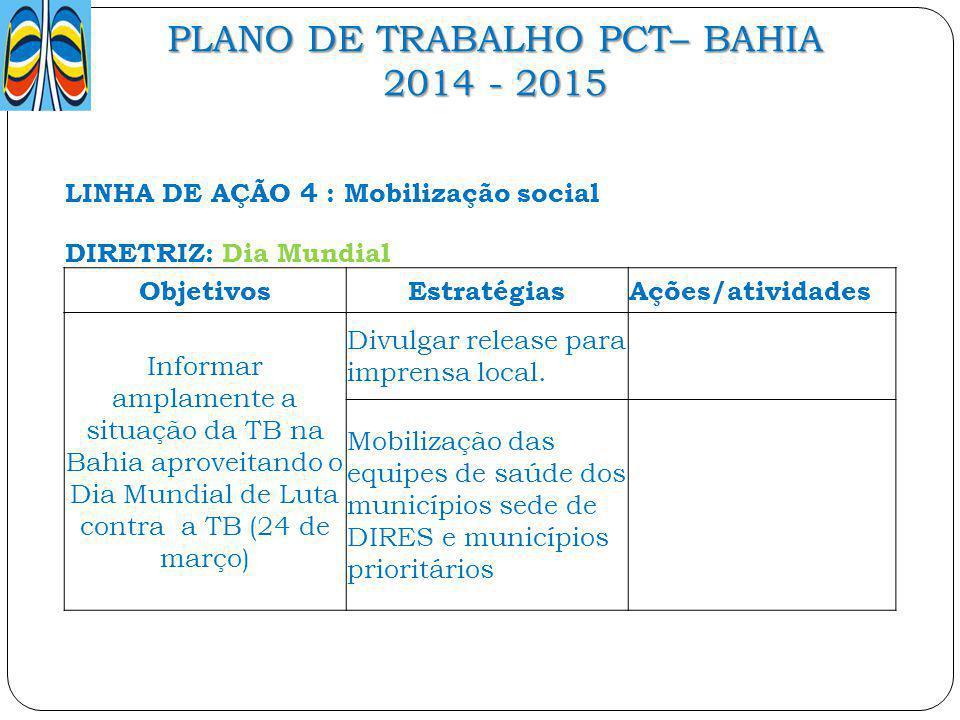 PLANO DE TRABALHO PCT– BAHIA 2014 - 2015 LINHA DE AÇÃO 4 : Mobilização social DIRETRIZ: Dia Mundial ObjetivosEstratégiasAções/atividades Informar ampl