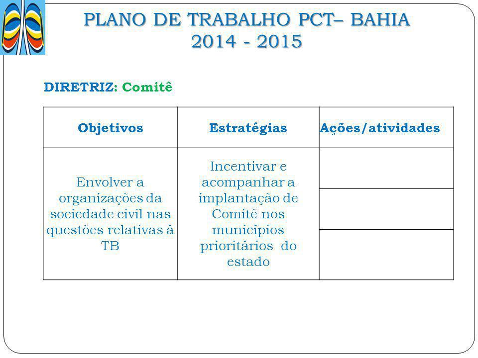 PLANO DE TRABALHO PCT– BAHIA 2014 - 2015 DIRETRIZ: Comitê ObjetivosEstratégiasAções/atividades Envolver a organizações da sociedade civil nas questões