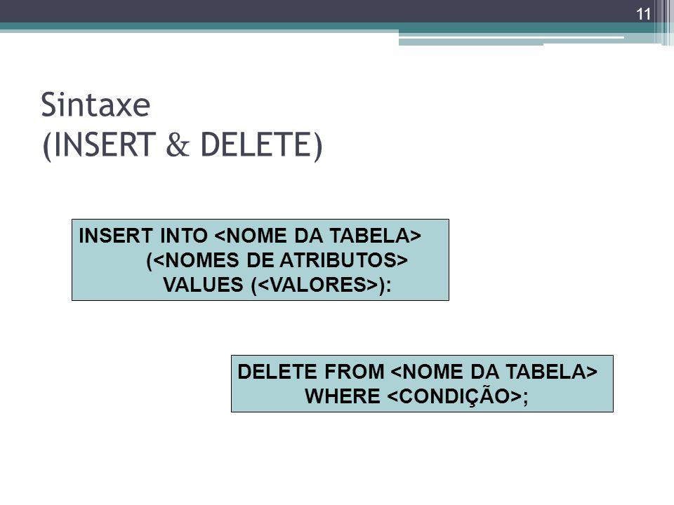 Sintaxe (INSERT & DELETE) INSERT INTO ( VALUES ( ): DELETE FROM WHERE ; 11
