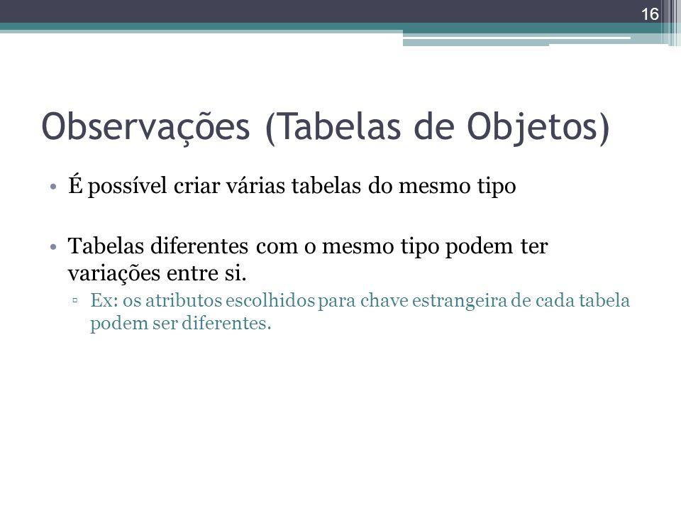 Observações (Tabelas de Objetos) É possível criar várias tabelas do mesmo tipo Tabelas diferentes com o mesmo tipo podem ter variações entre si. ▫Ex: