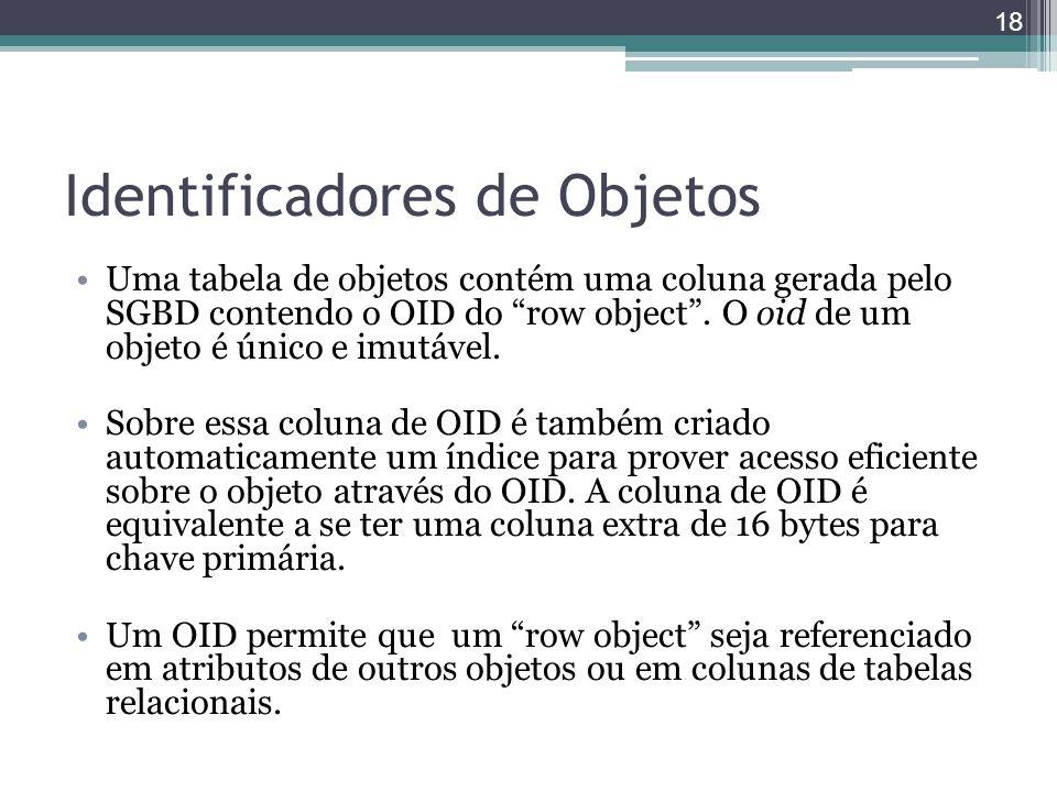 """Identificadores de Objetos Uma tabela de objetos contém uma coluna gerada pelo SGBD contendo o OID do """"row object"""". O oid de um objeto é único e imutá"""