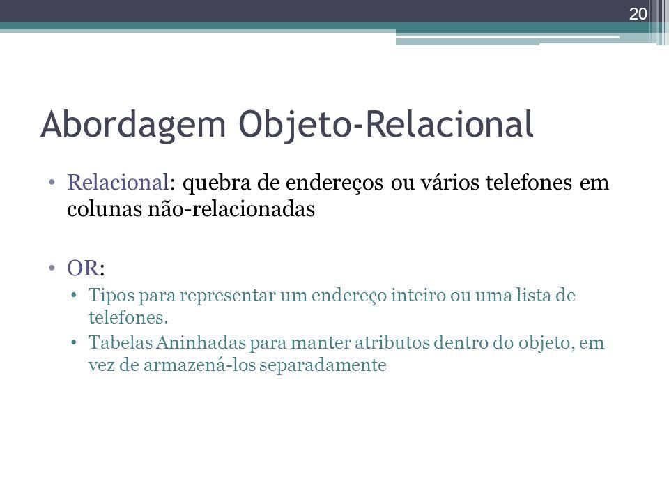 Abordagem Objeto-Relacional Relacional: quebra de endereços ou vários telefones em colunas não-relacionadas OR: Tipos para representar um endereço int