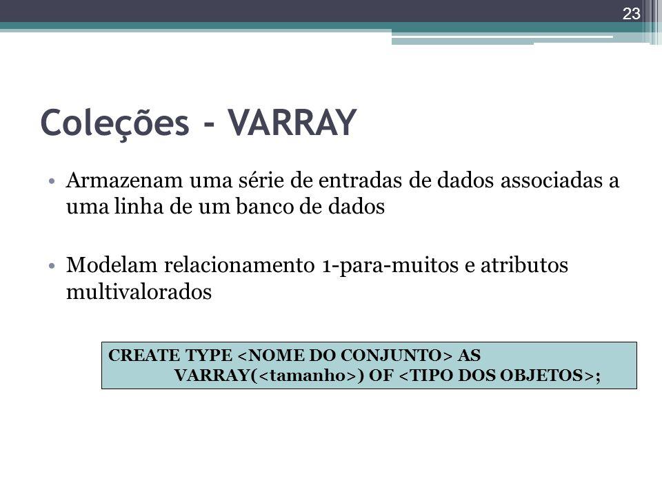Coleções - VARRAY Armazenam uma série de entradas de dados associadas a uma linha de um banco de dados Modelam relacionamento 1-para-muitos e atributo