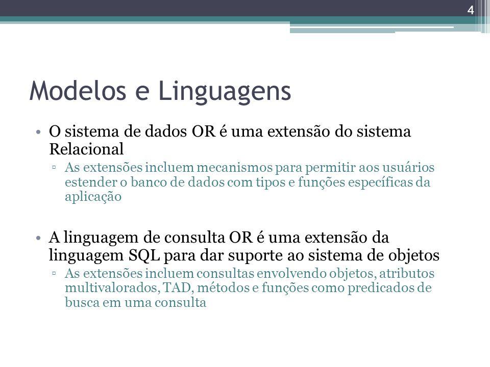 Modelos e Linguagens O sistema de dados OR é uma extensão do sistema Relacional ▫As extensões incluem mecanismos para permitir aos usuários estender o