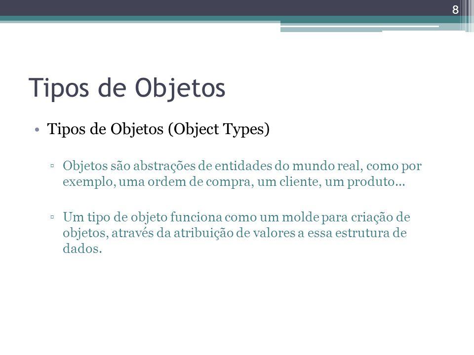 Tipos de Objetos Tipos de Objetos (Object Types) ▫Objetos são abstrações de entidades do mundo real, como por exemplo, uma ordem de compra, um cliente