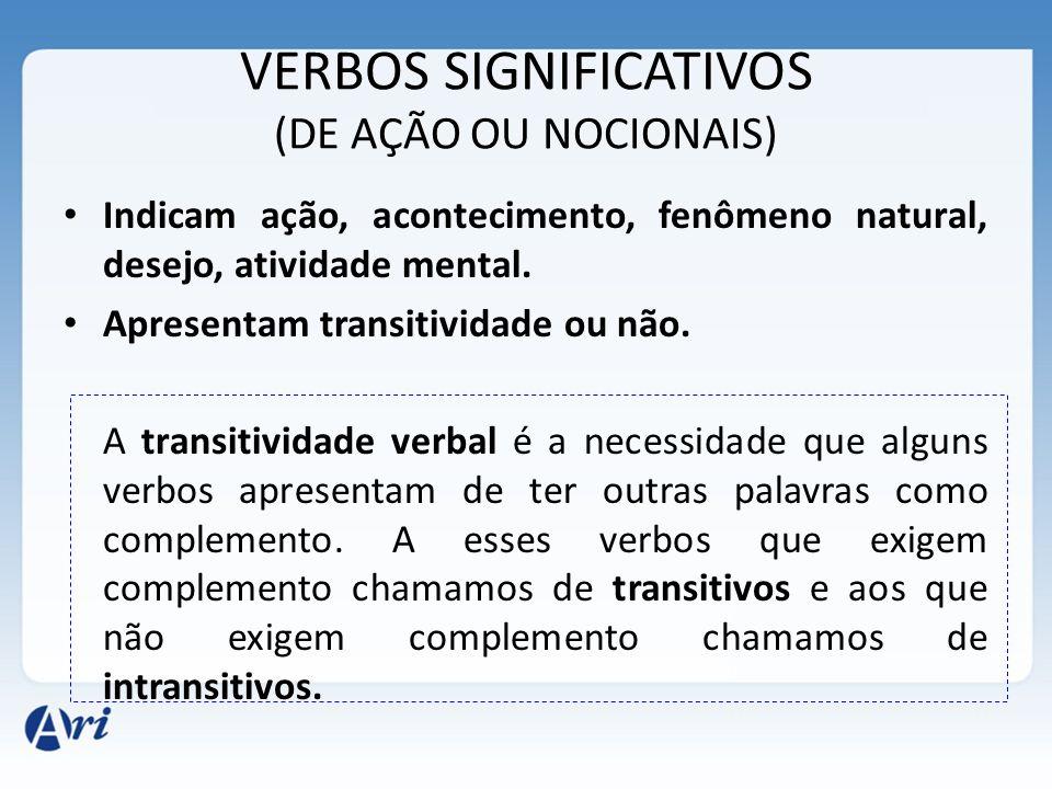 VERBOS SIGNIFICATIVOS (DE AÇÃO OU NOCIONAIS) Indicam ação, acontecimento, fenômeno natural, desejo, atividade mental.