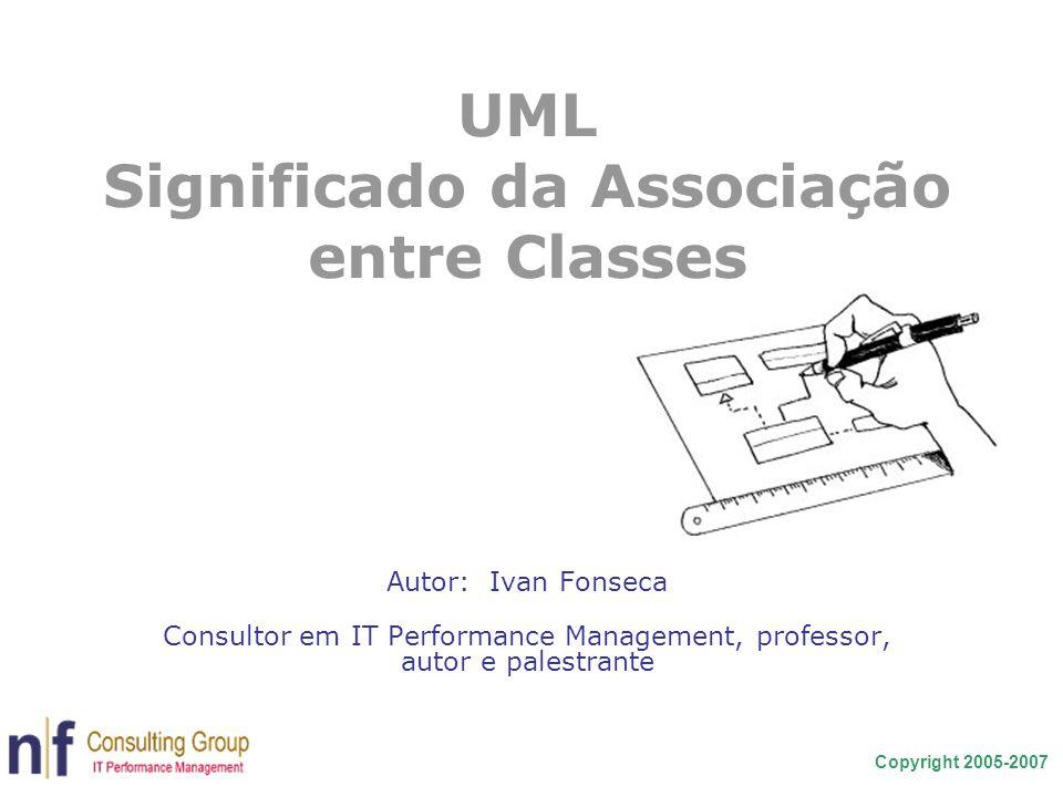 Copyright 2005-2007 UML Significado da Associação entre Classes Autor: Ivan Fonseca Consultor em IT Performance Management, professor, autor e palestr