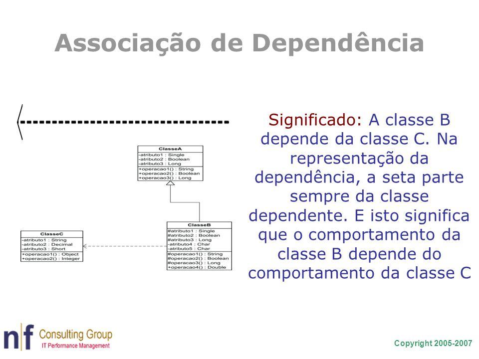 Copyright 2005-2007 Associação de Dependência Significado: A classe B depende da classe C. Na representação da dependência, a seta parte sempre da cla