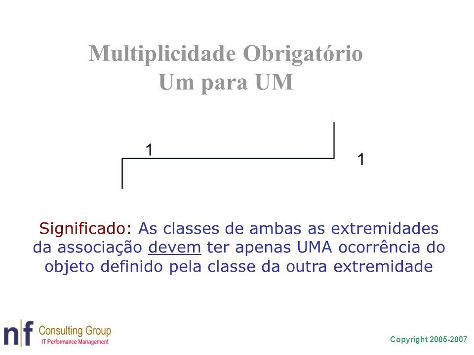 Copyright 2005-2007 Multiplicidade Obrigatório Um para UM Significado: As classes de ambas as extremidades da associação devem ter apenas UMA ocorrênc