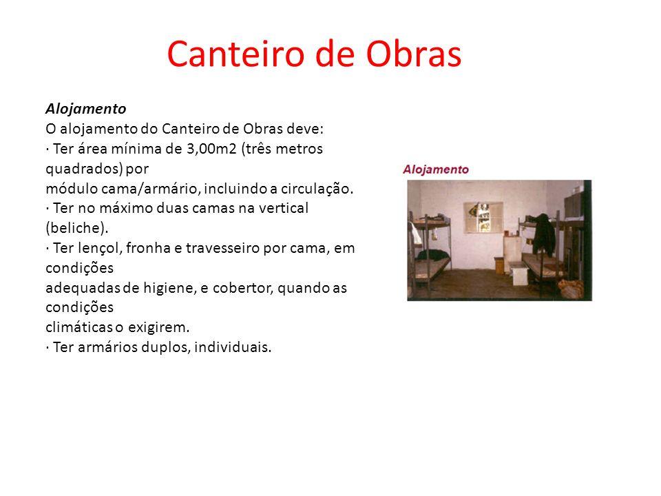 Alojamento O alojamento do Canteiro de Obras deve: · Ter área mínima de 3,00m2 (três metros quadrados) por módulo cama/armário, incluindo a circulação.