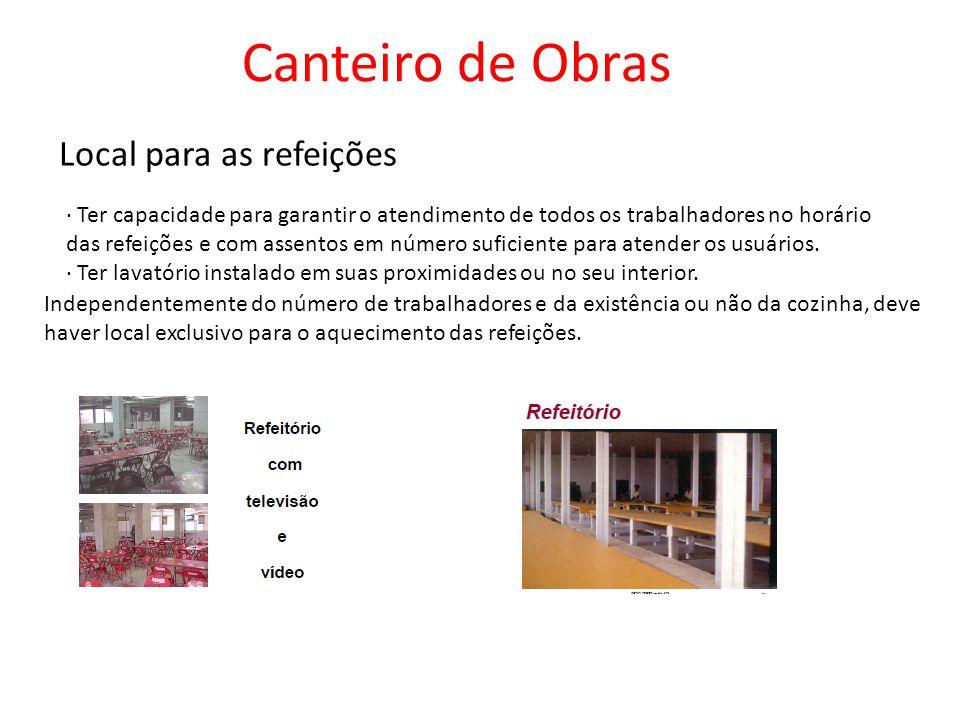 Local para as refeições Canteiro de Obras Independentemente do número de trabalhadores e da existência ou não da cozinha, deve haver local exclusivo para o aquecimento das refeições.