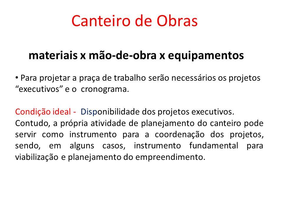 materiais x mão-de-obra x equipamentos Canteiro de Obras Para projetar a praça de trabalho serão necessários os projetos executivos e o cronograma.