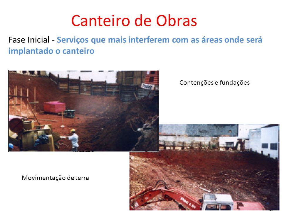 Canteiro de Obras Contenções e fundações Movimentação de terra Fase Inicial - Serviços que mais interferem com as áreas onde será implantado o canteiro