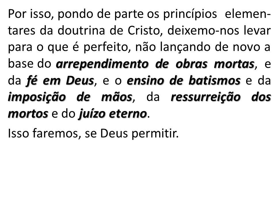 Por isso, pondo de parte os princípios elemen- tares da doutrina de Cristo, deixemo-nos levar para o que é perfeito, não lançando de novo a base do ar