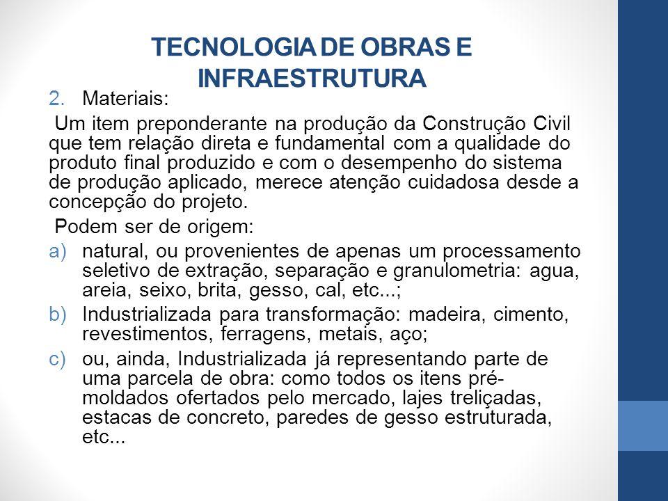 TECNOLOGIA DE OBRAS E INFRAESTRUTURA 2.Materiais: Um item preponderante na produção da Construção Civil que tem relação direta e fundamental com a qua