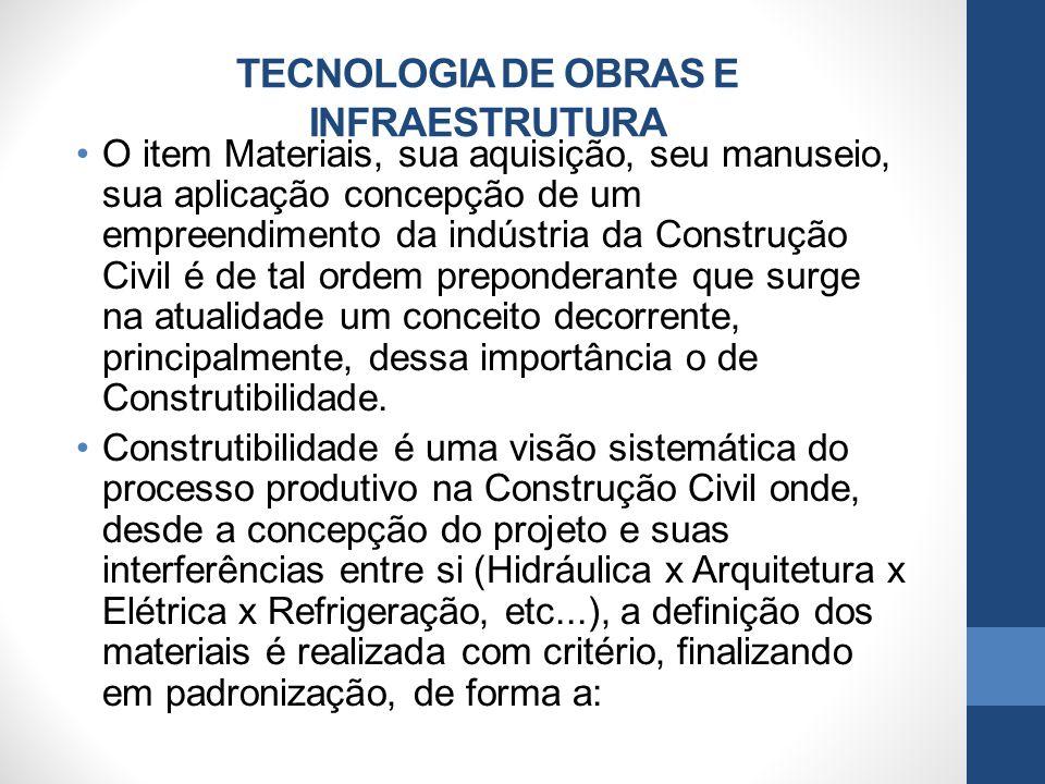 TECNOLOGIA DE OBRAS E INFRAESTRUTURA O item Materiais, sua aquisição, seu manuseio, sua aplicação concepção de um empreendimento da indústria da Const